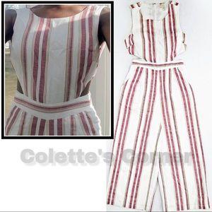 Japna Red & White Stripe Cutout Linen Crop Romper